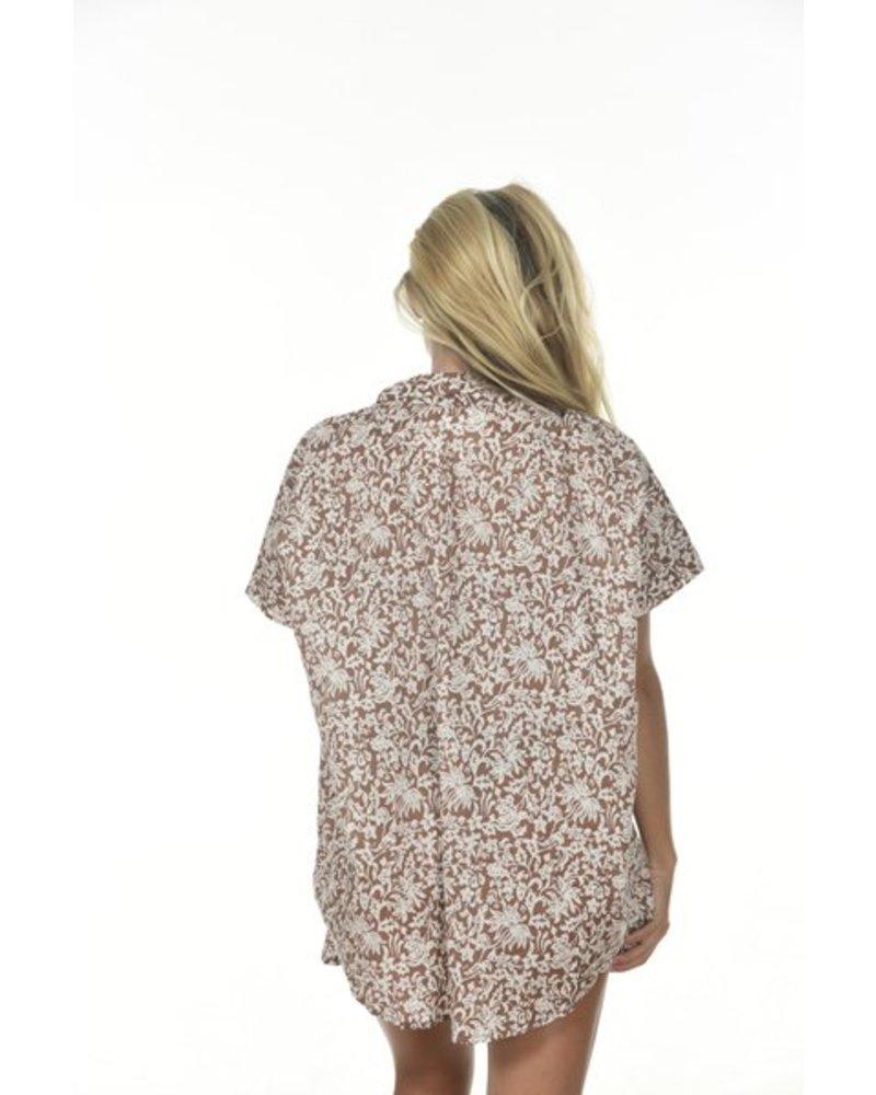 Mombasa Shirt Cotton/Silk Brown Batik