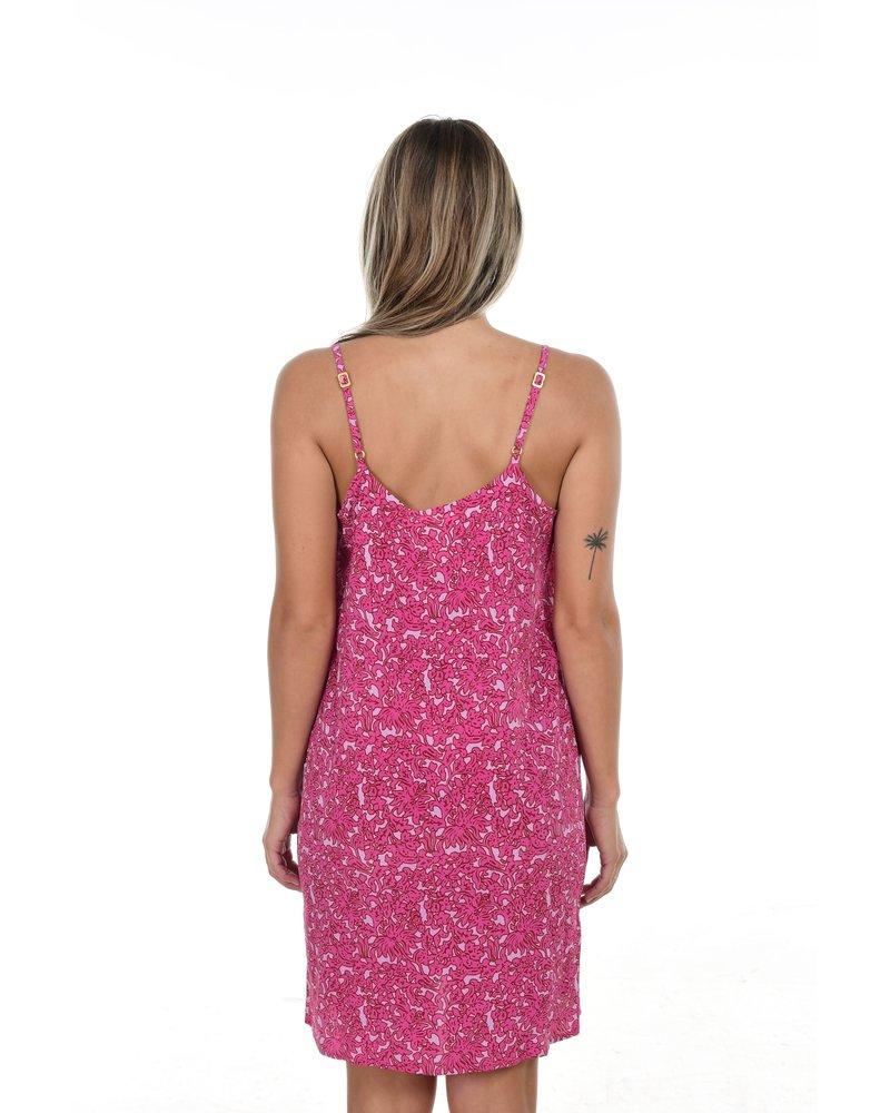 Vatu Silk Dress in Pink Batik