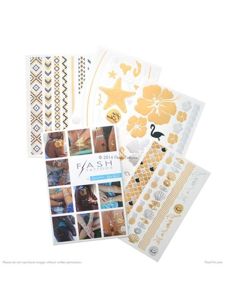 Flash Tattoos Gold Fish Kiss H20