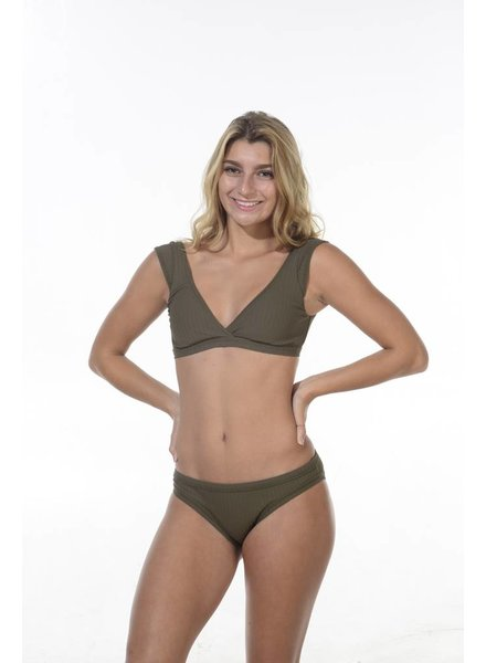 Seafolly Wrap Front Crop Dark Olive