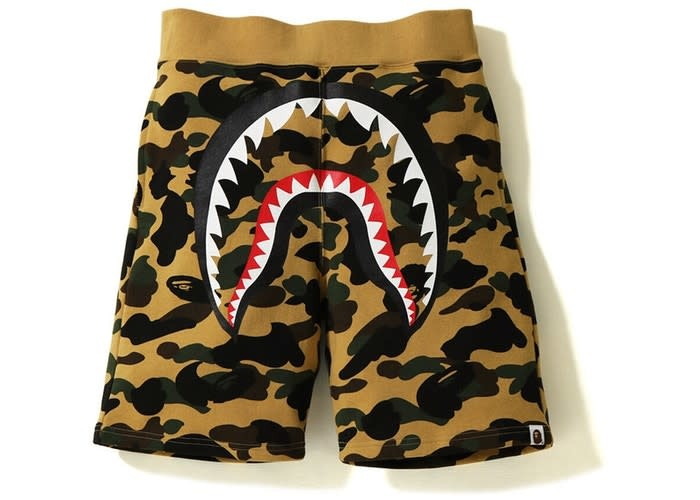 b2675481c441 bape big mouth 1st camo shark sweat shorts (yellow) - OSO a style lab
