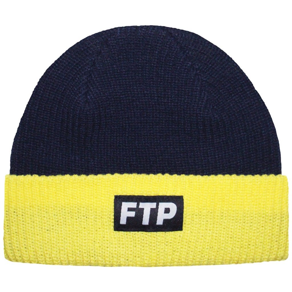 415a5aee ftp two tone logo beanie navy and yellow - OSO:a style lab