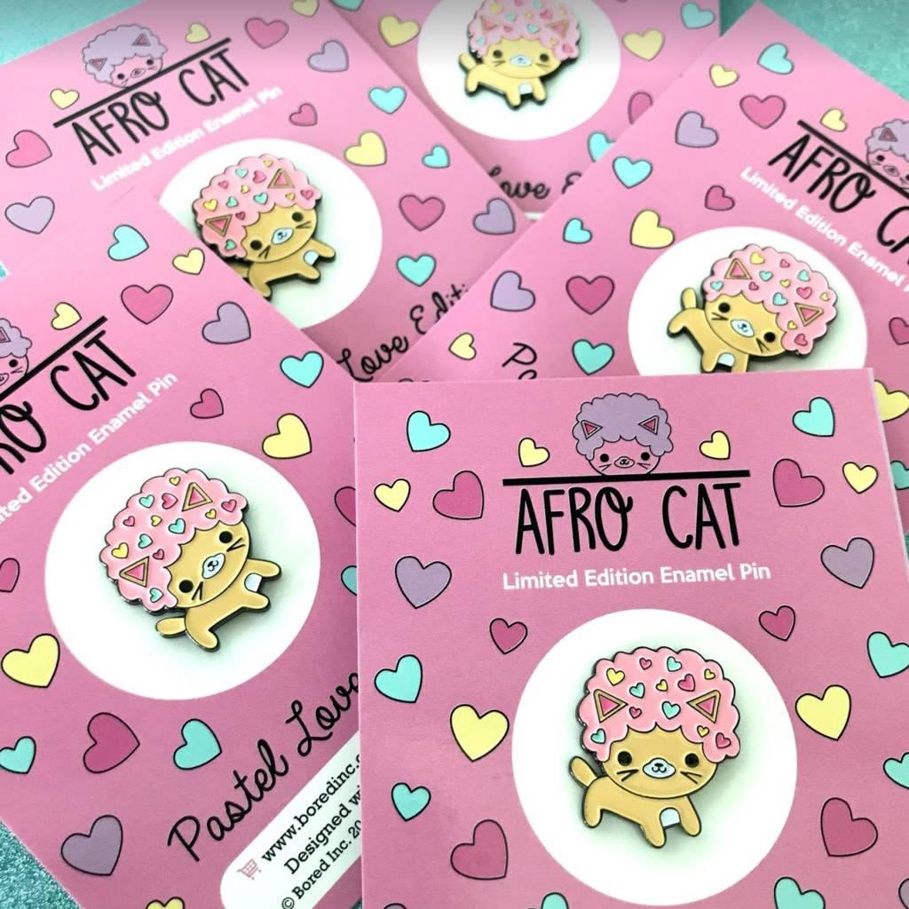 bored inc afro cat pastel love enamel pin