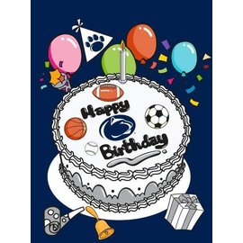 Sewing Concepts Penn State Birthday Cake Sport Version on Navy 30x40 Flag