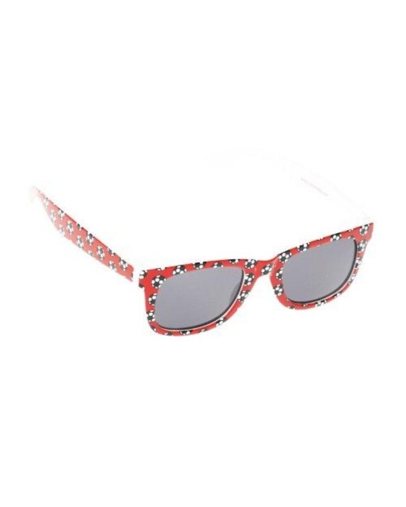 Kids Sport Themed Wayfarer Sunglasses - Soccer Red
