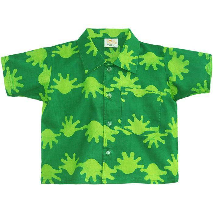Global Mamas Lime Splat Button Down Shirt