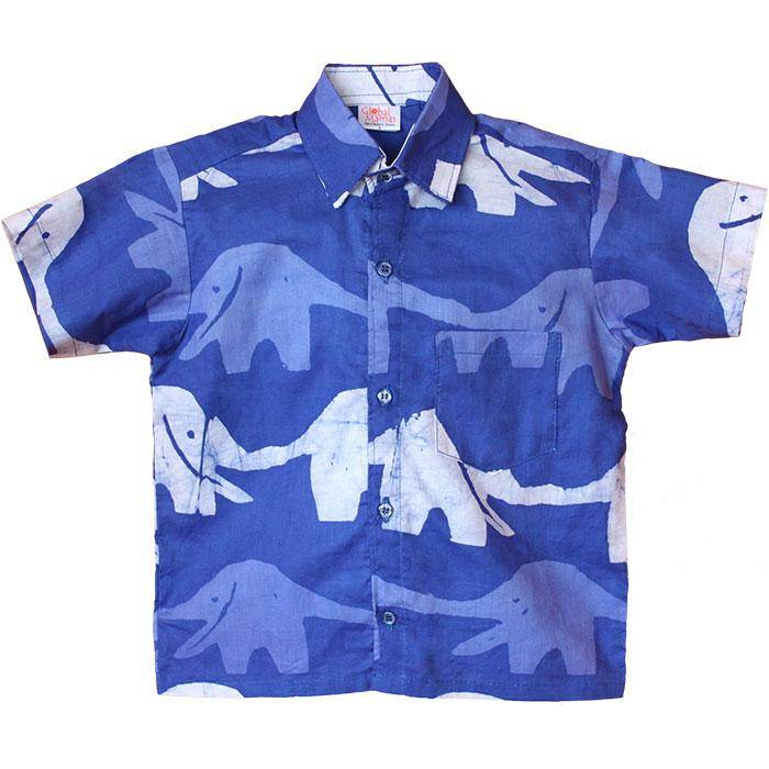 Global Mamas Blueberry Elephant Button Down Shirt