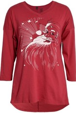 Green 3 Apparel Classic Santa 3/4 Sleeve Dolman Tunic Red