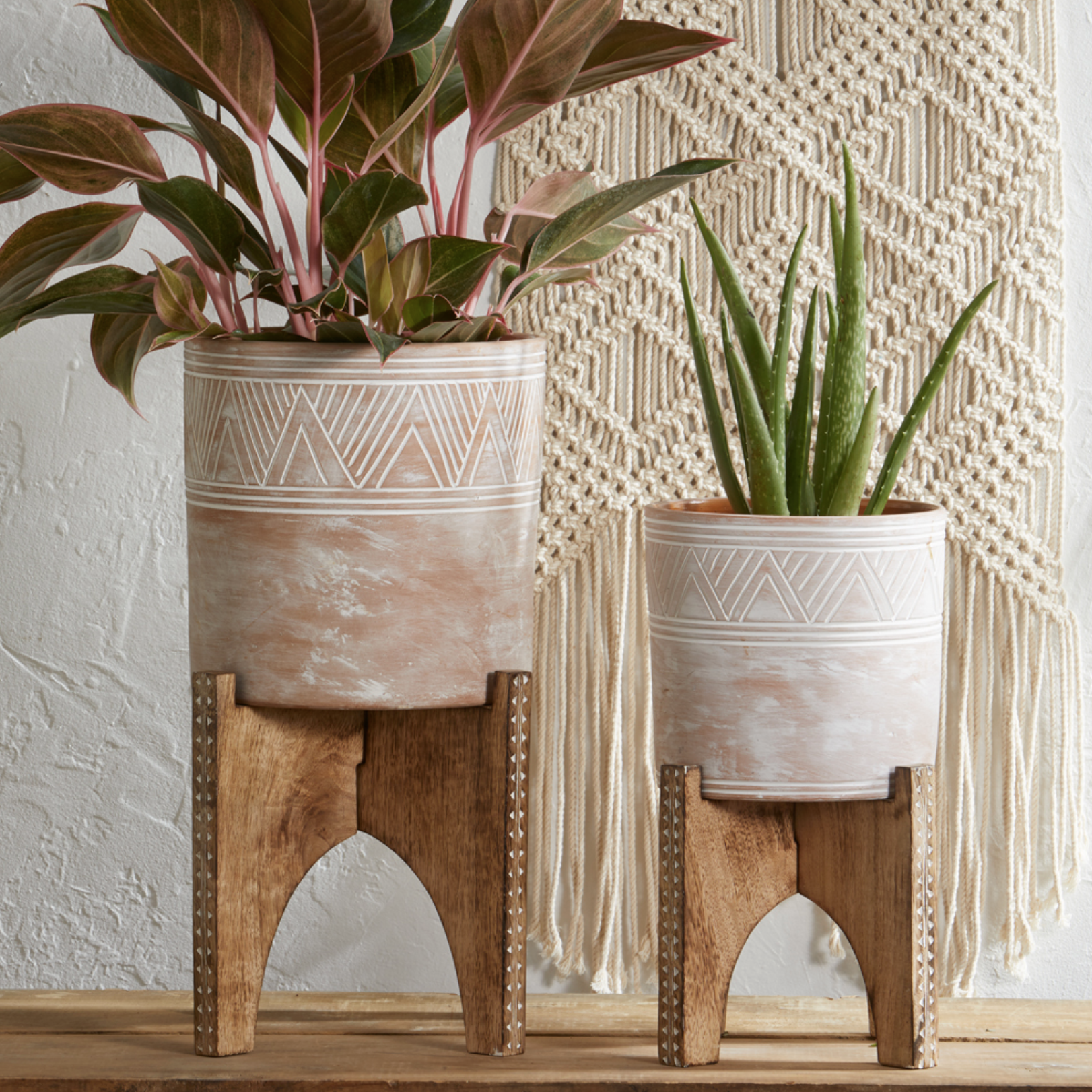 KIT Etched Cylinder planter&stand