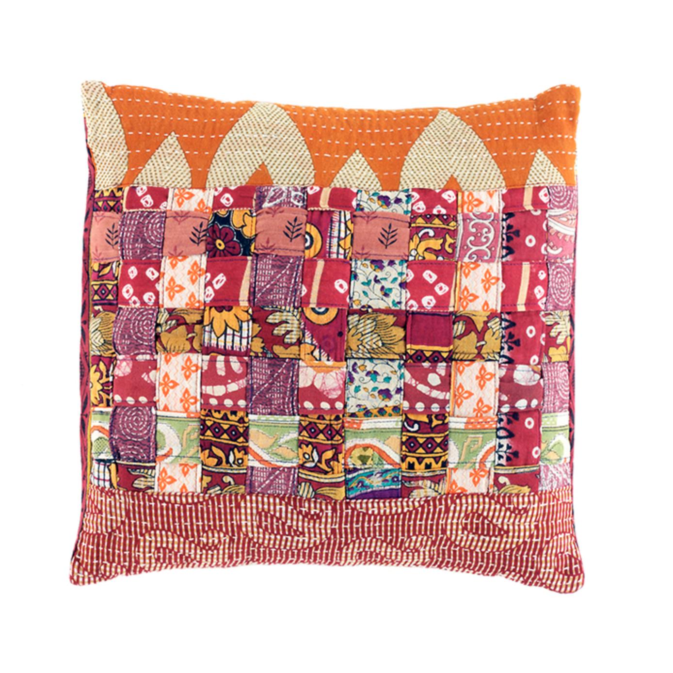 Warm Tones Kantha Basketweave Pillow