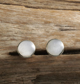 Mother of Pearl Button Earrings