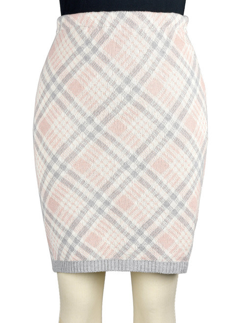 Green 3 Apparel Featherweight Plaid Pencil Skirt