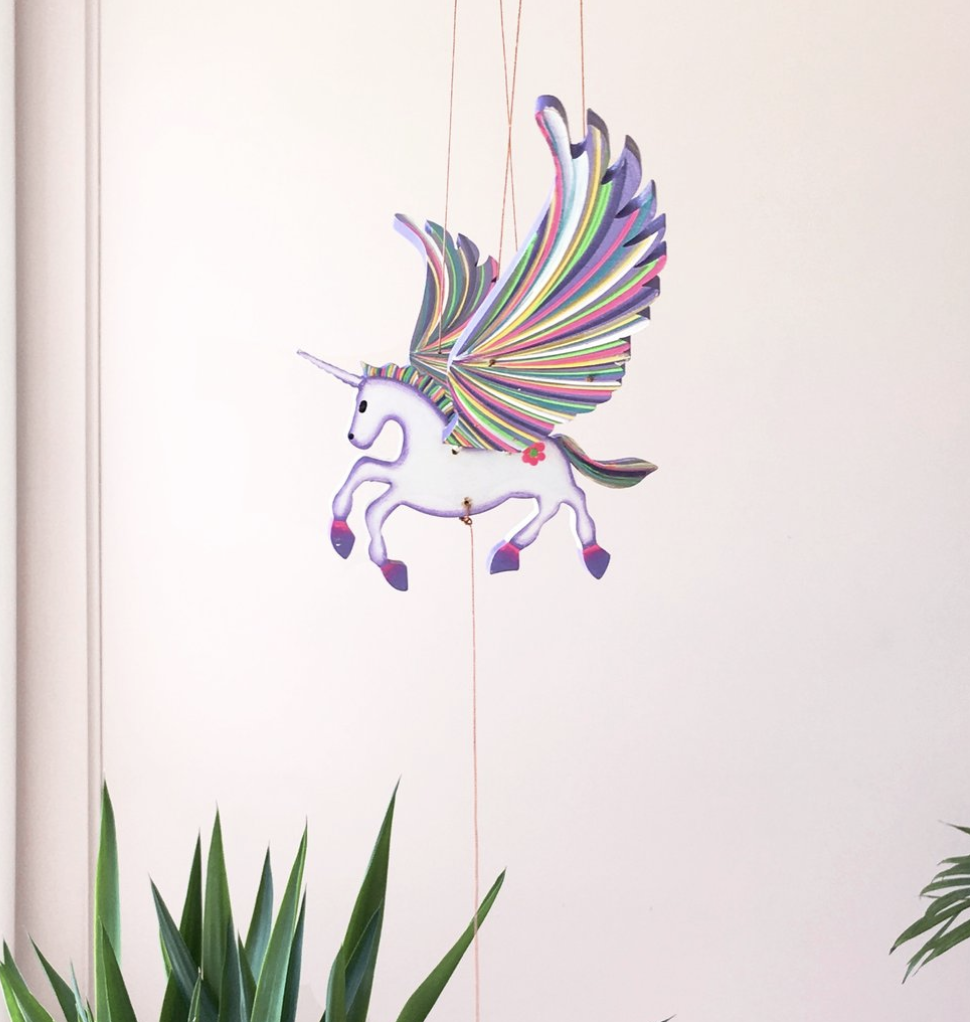 Tulia's Artisan Gallery Unicorn Flying Mobile