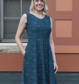 Maggies Organics Box Pleat Dress Print Teal