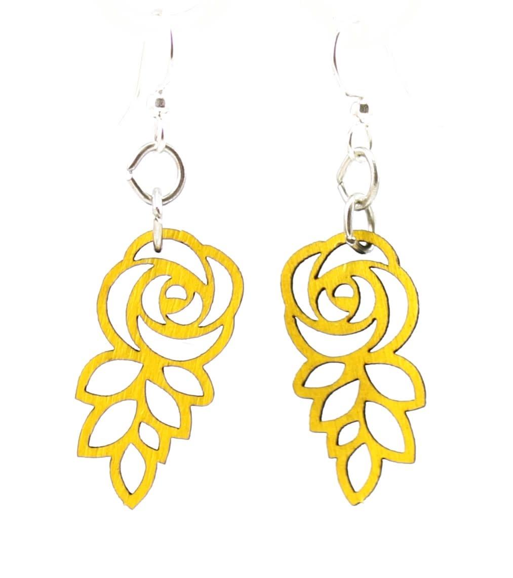 Leafed Rose Earrings
