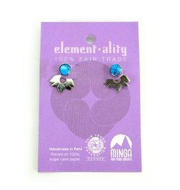 Lotus Flower Ear Jacket Stud Earrings