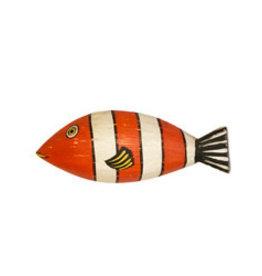 Wood Fish Wall Art Orange