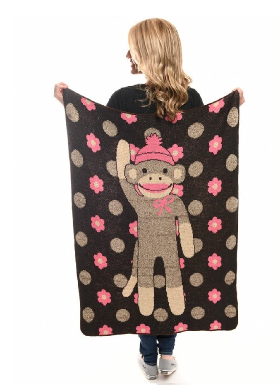 Flower Sock Monkey Jr. Throw