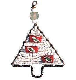 TS Beaded Ornaments Mini Tree White