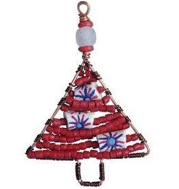 TS Beaded Ornaments Mini Tree Red