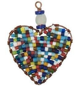 Global Mamas TS Beaded Ornaments Mini Heart Rainbow