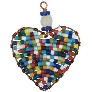 TS Beaded Ornaments Mini Heart Rainbow