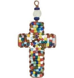 Global Mamas TS Beaded Ornaments Mini Cross Rainbow