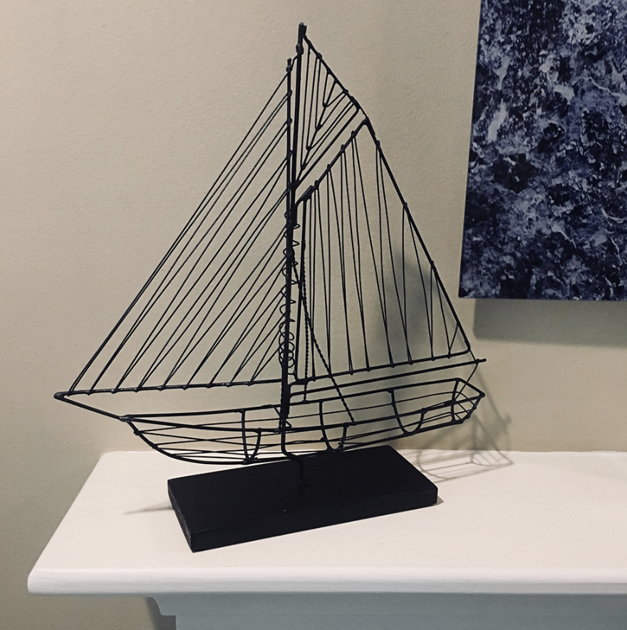 Wire Sailboat Black