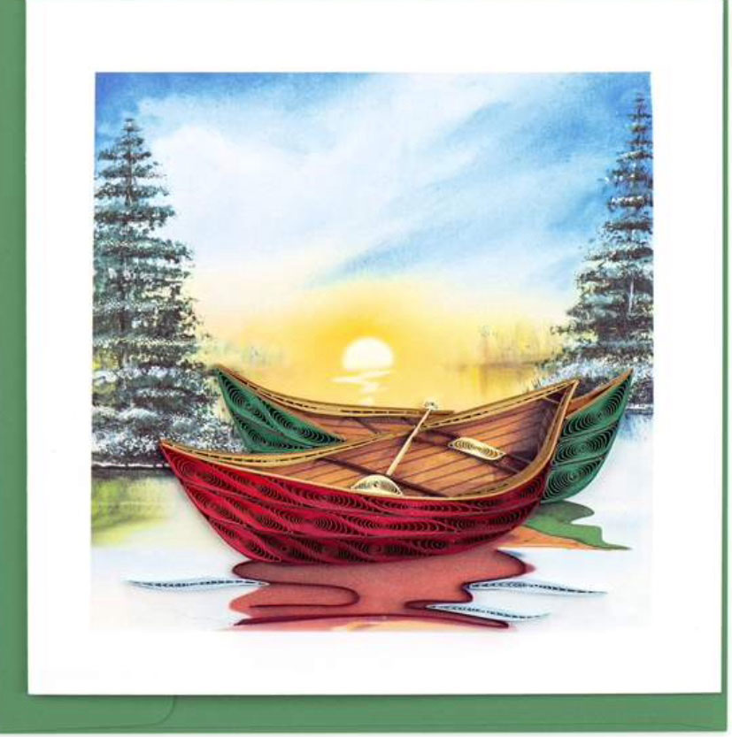 Quilling Card River Canoes