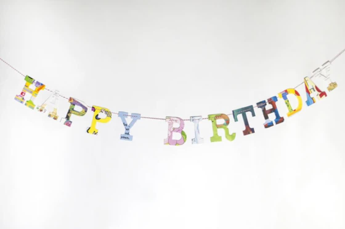 Attic Journals Recycled Book Happy Birthday Garland