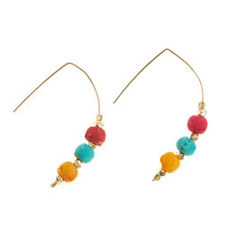 SERRV Triple Sari Bead Earrings