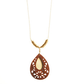 SERRV Woodflower Teardrop Pendant Necklace