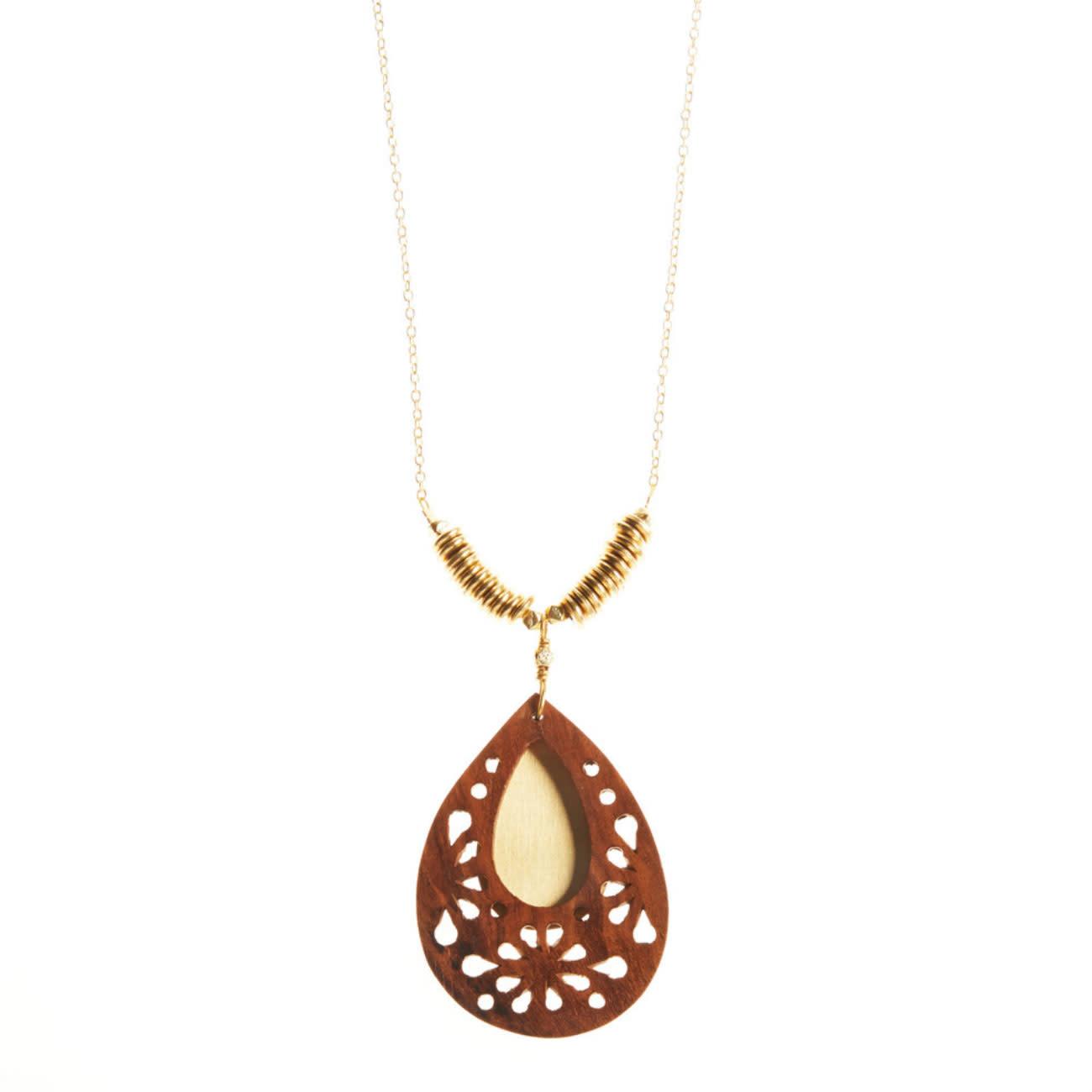 SERRV Woodflower Teardrop Pendant Necklace