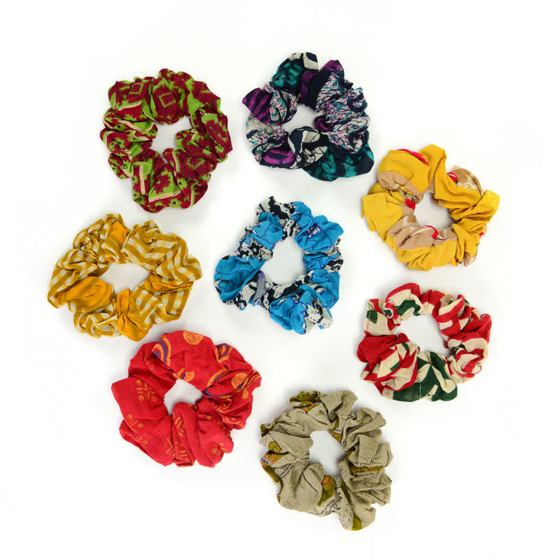 Minga Imports Cotton Sari Scrunchie