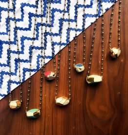 Pickled Pottery Colorblock Geometric Necklace
