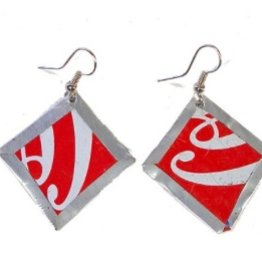 Global Crafts Square Tin Earrings