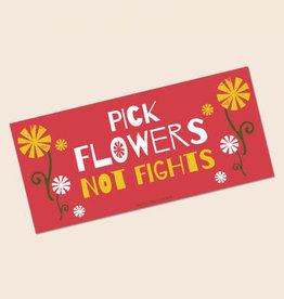 Soul Flower Pick Flowers Not Fights Mini Bumper Sticker