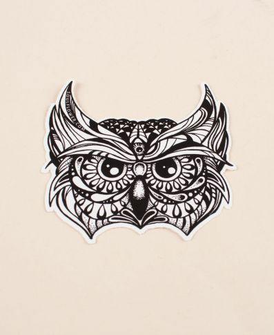 Soul Flower Owl Head Sticker