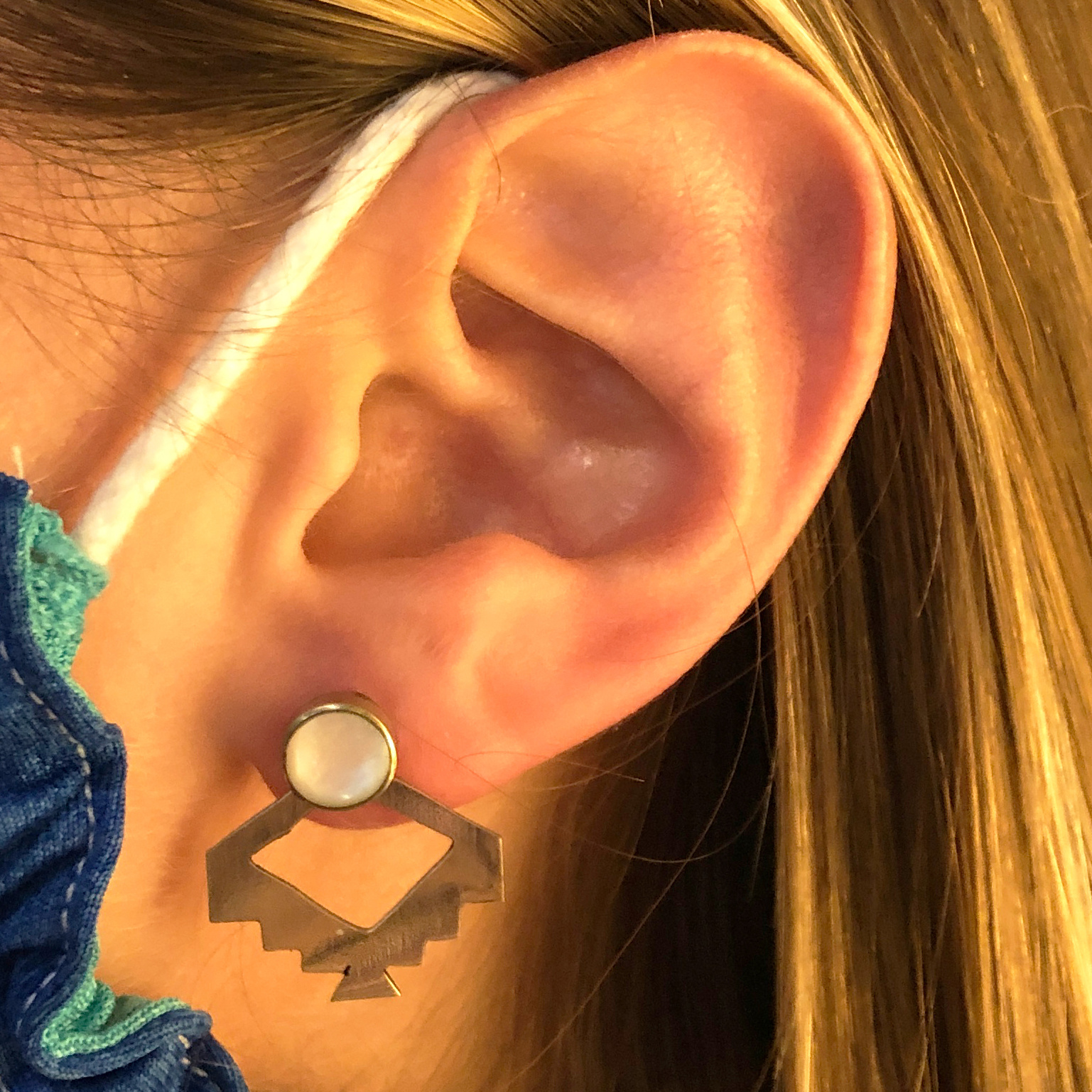 Incan Ear Jacket Stud Earrings
