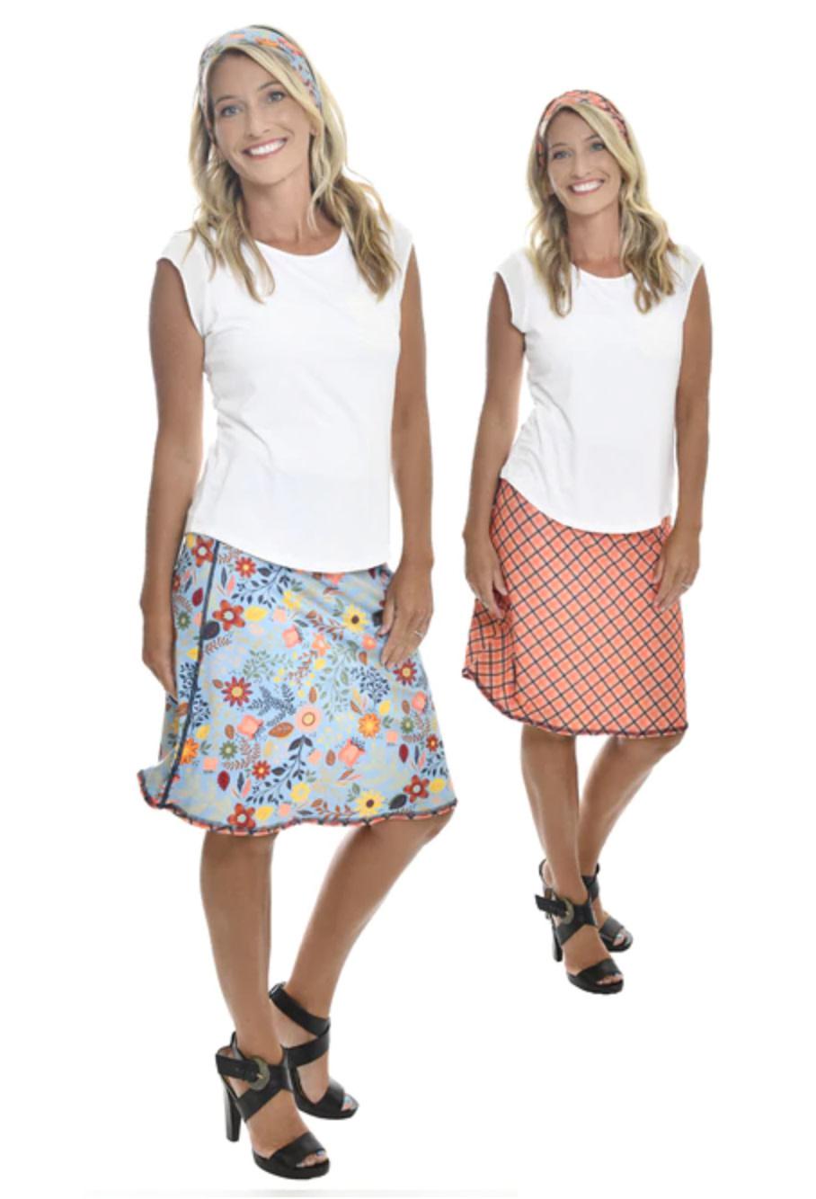 Vintage Floral & Plaid Reversible Sport Skirt