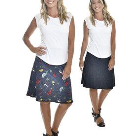 Vintage Birds & Crosshatch Reversible Skirt
