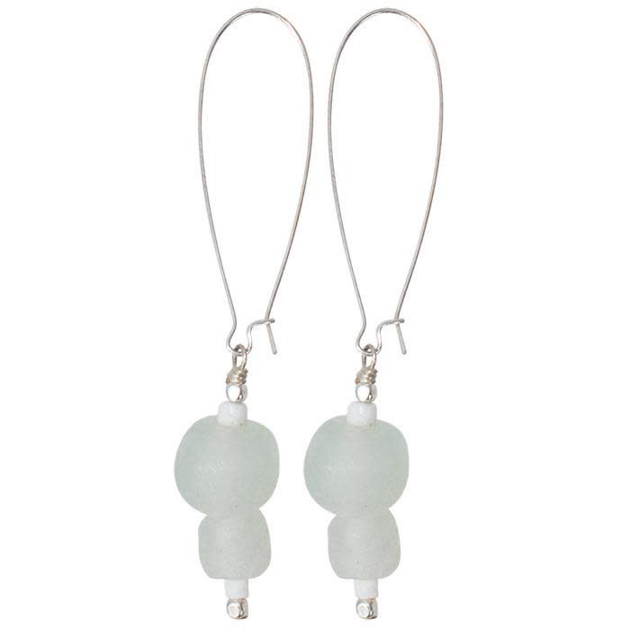 Global Mamas TS Glass Pearls Dangle Earrings White