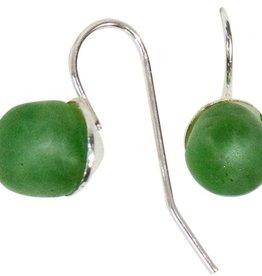 Global Mamas TS Glass Pearls Drop Earrings Moss