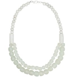 Global Mamas TS Glass Pearl Statement Necklace White