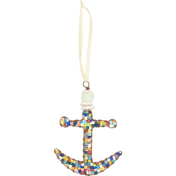 Global Mamas TS Beaded Ornament Anchor Rainbow