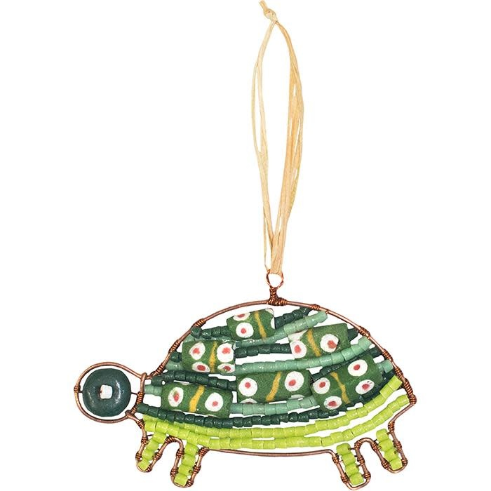 Global Mamas TS Beaded Turtle Green Ornament