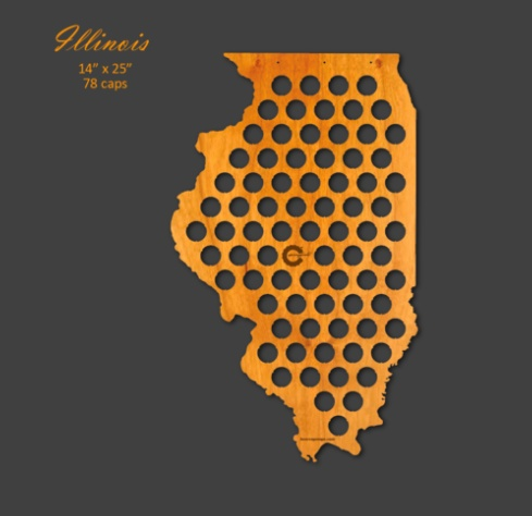 Beer Cap Maps Illinois Map