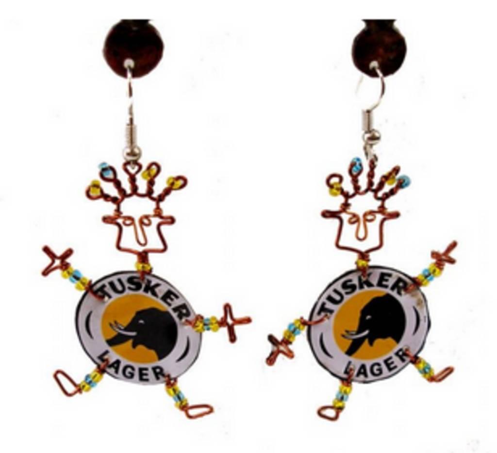 Global Crafts Tusker Bottlecap Earrings