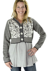 Green 3 Apparel Floral Vines Striped Cropped Cardigan