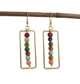 WorldFinds Framed Kantha Earrings